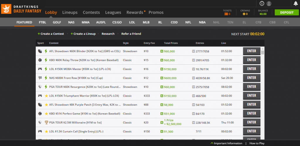 DraftKings DFS Home Page 'Lobby'