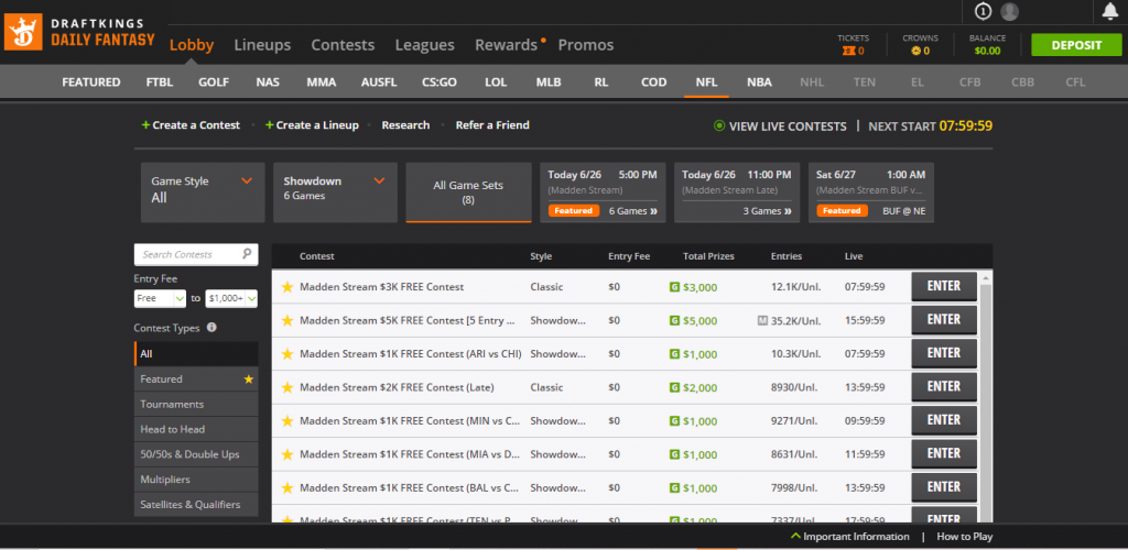 DraftKings DFS NFL Contests